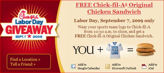 Chick-Fil-A free sandwich deal.
